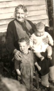 Alice Grange (Grandma Meier) with two great grandchildren.
