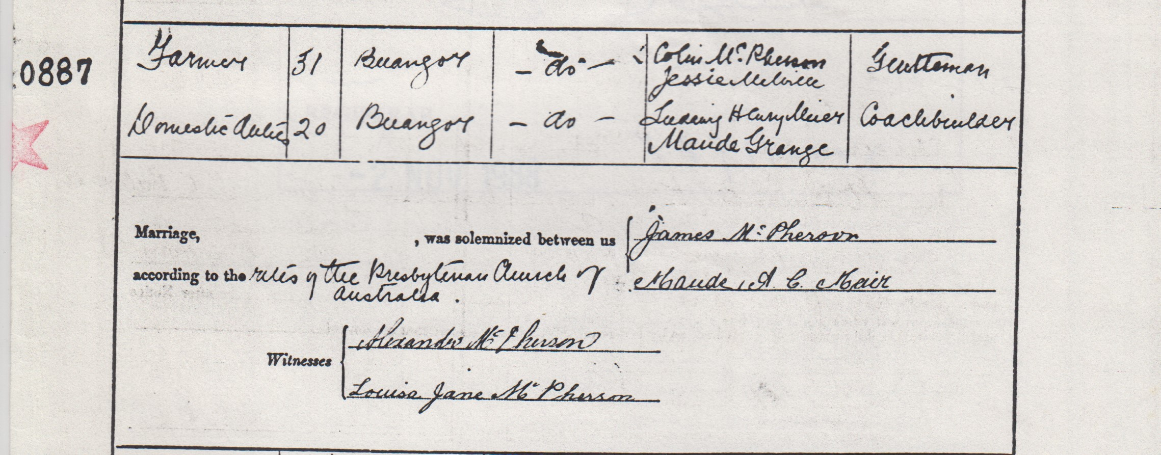 James McPherson marriage certificate part 2