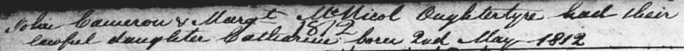Catharine Cameron birth record 2 May 1812