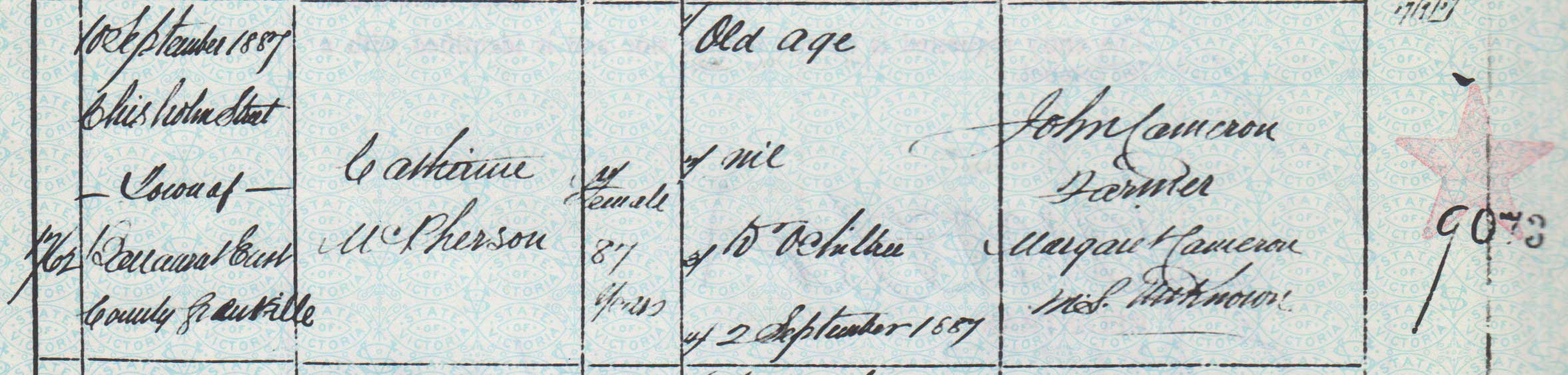 Catherine Cameron death certificate 1887 part 1