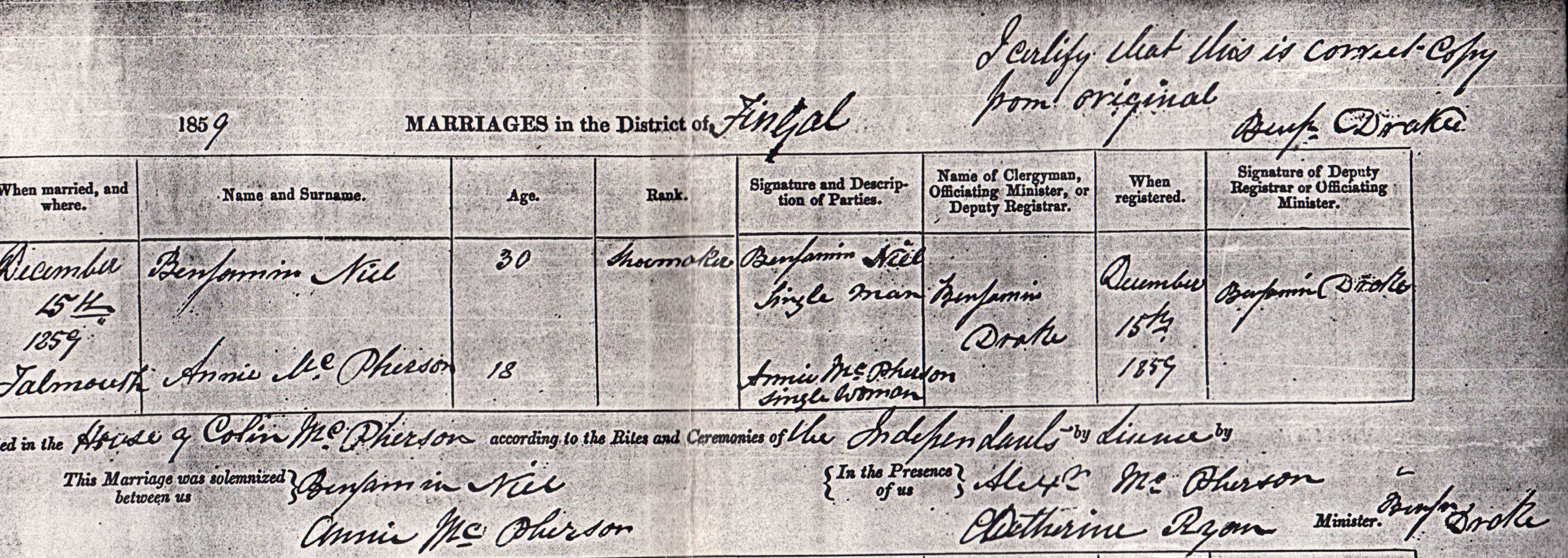 Annie McPherson marriage certificate 1859