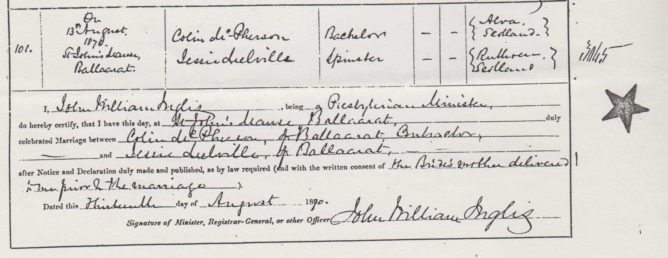 Colin McPherson and Jessie Melville marriage certificate part 1