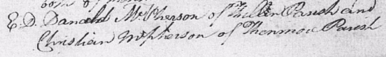 Marriage of 18 Dec 1890 entered as Danald McPherson