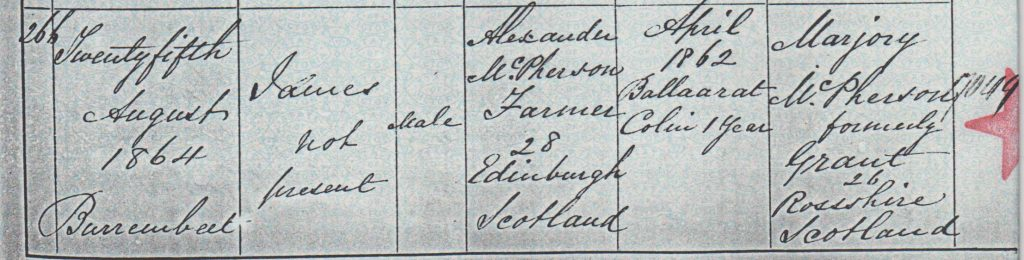 James Grant McPherson birth certificate 1864