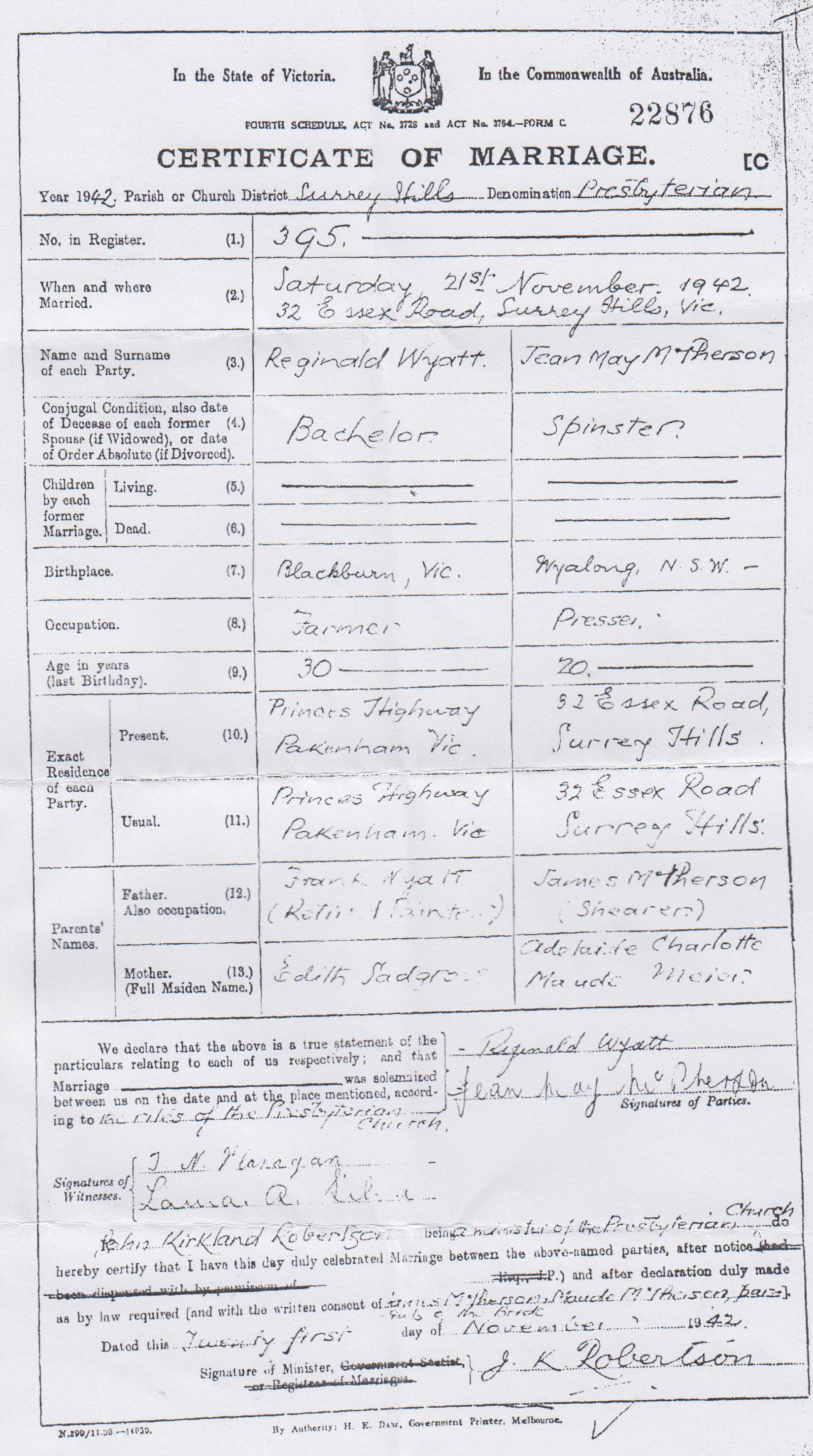 Jean McPherson marriage certificate