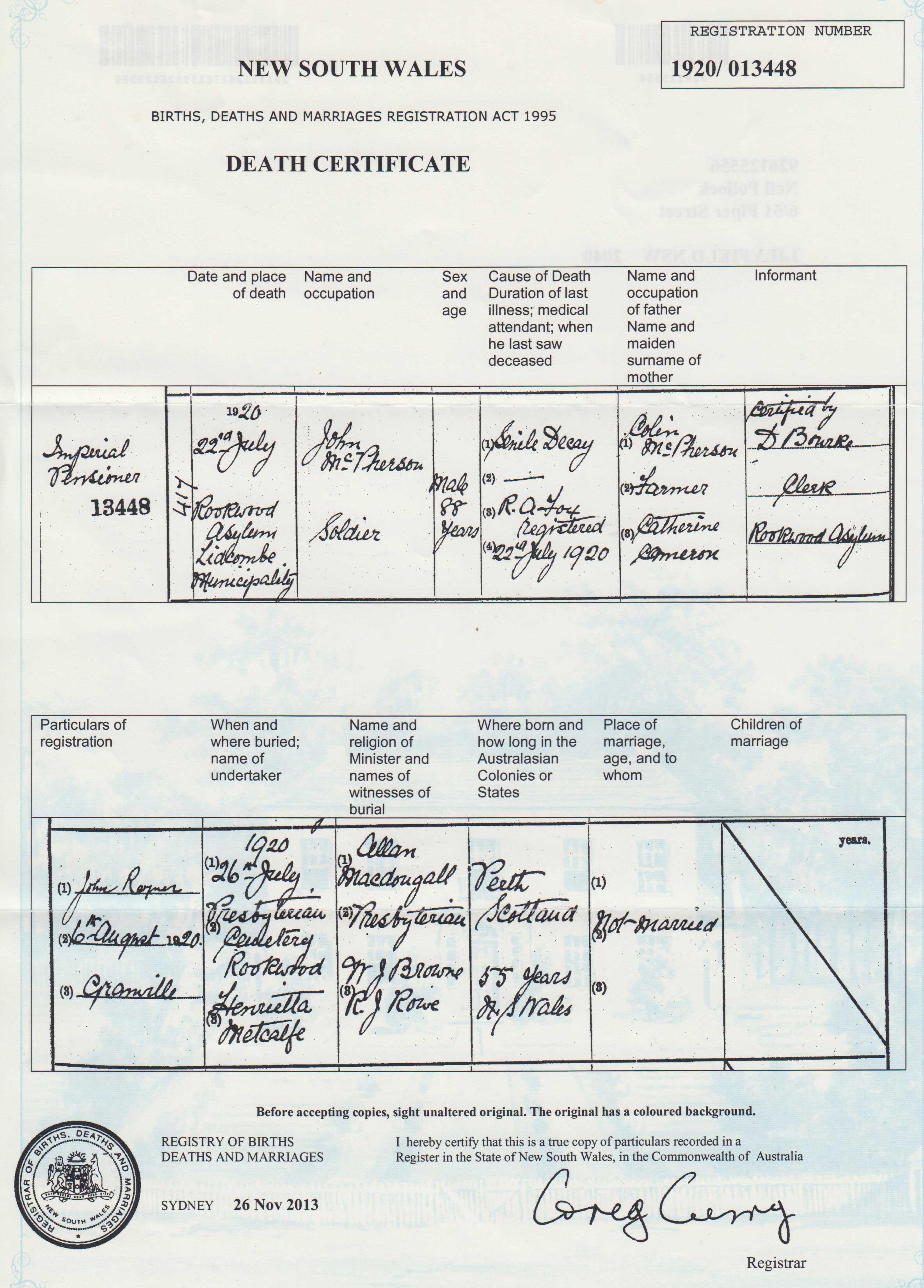 John McPherson death certificate
