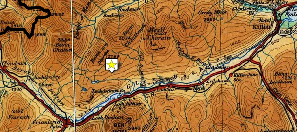Map showing the road from Killin to Auchtertyre through Docharet Glen and Strathfillan